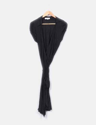 Vestido midi negro cruzado Piluca Barrero