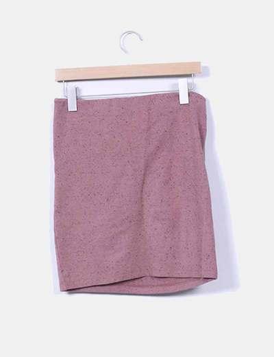 Mini falda rosa empolvado drapeado