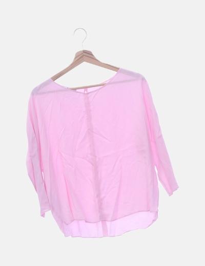 Blusa de gasa rosa palo