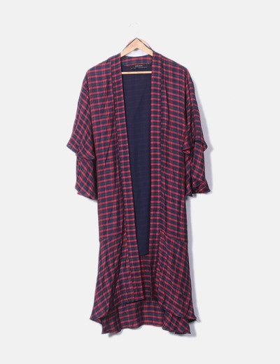 Kimono largo cuadros rojos Zara