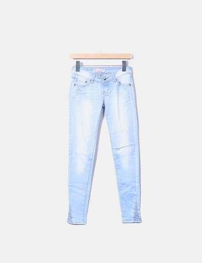 Jeans denim azul efecto desgastado NoName