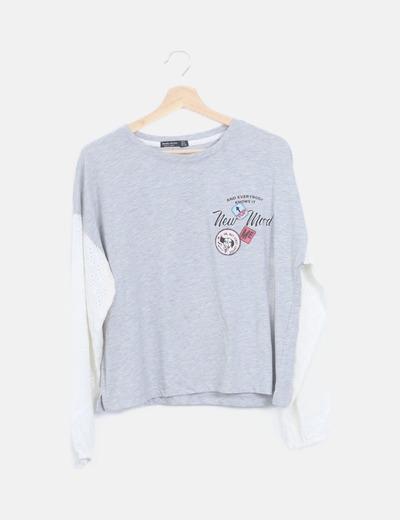 Camiseta combinada gris