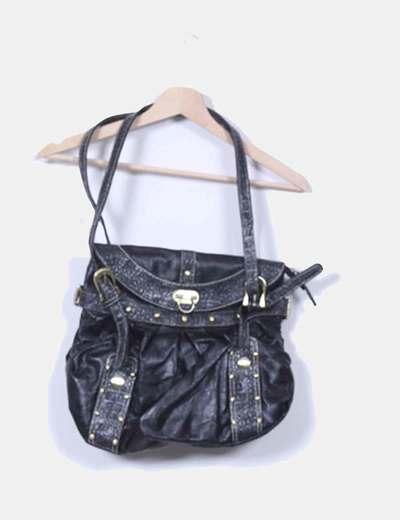 Bolso negro glitter con tachas NoName