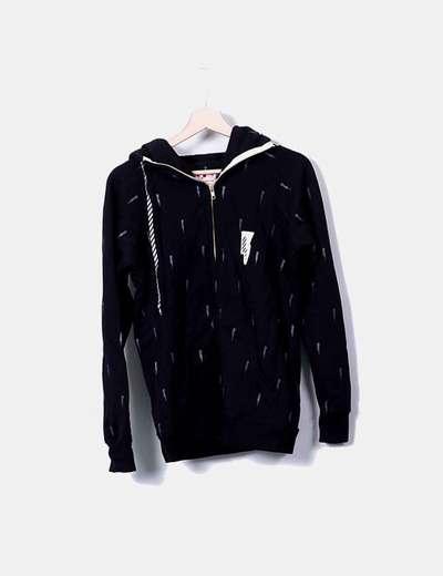 Sweat-shirt noir imprimé rayons Femi Pleasure