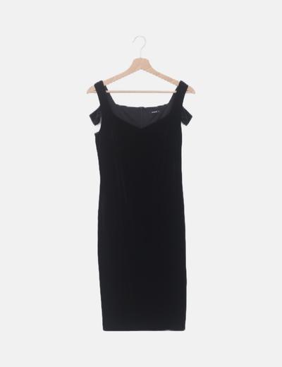 Vestido terciopelo negro tirante ancho