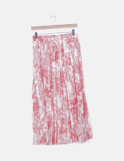 Falda plisada blanca estampado floral