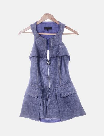 Conjunto de chaleco y falda denim azul