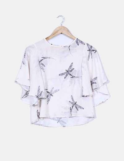Blusa nude print libélulas mangas mariposa NoName
