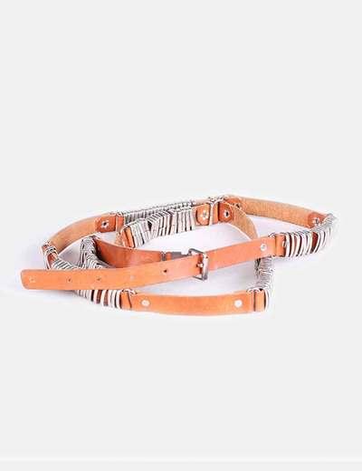 Cinturón doble piel con anillas  NoName