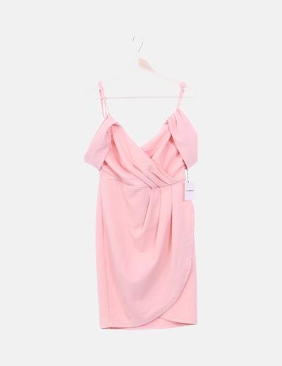 Vestido rosa detalle cruzao
