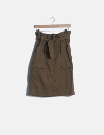 Falda midi kaki
