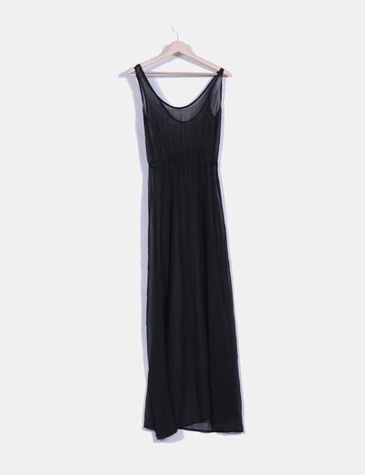 Maxi vestido negro semitransparente
