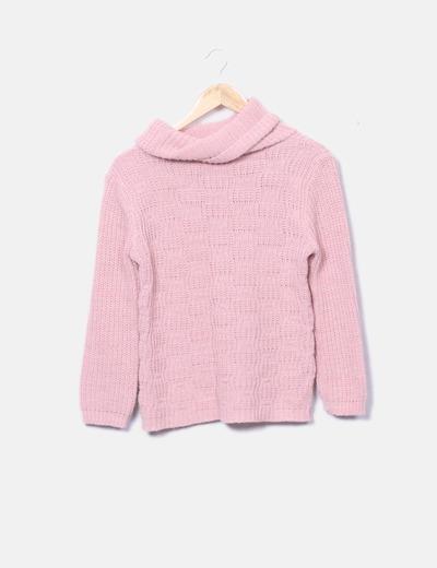 Jersey tricot con cuello chimenea