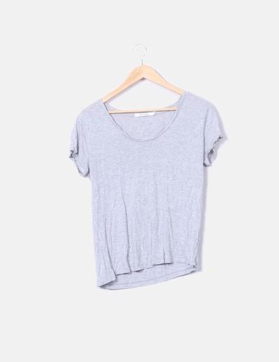 Camiseta de manga corta gris jaspeada