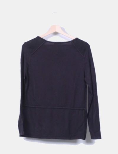 Sueter tricot negro combinado rejill