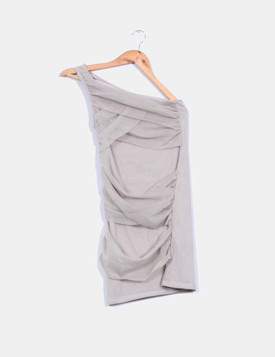 Vestido beige combinado con escote asimétrico Zara