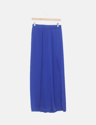 Falda maxi satén azul eléctrico