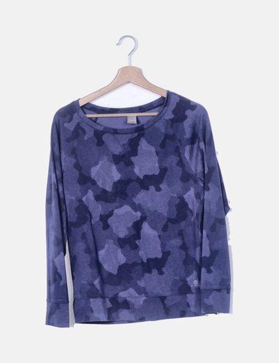 Camiseta azul print camuflaje