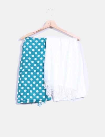 Conjunto de pañuelos blanco, y verde con topos blancos NoName
