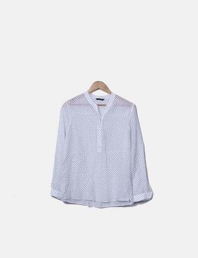 Camisa blanca con topos azules Massimo Dutti