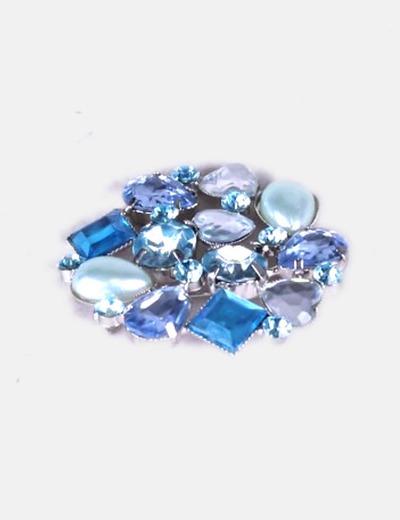 mejor selección de 2019 colección completa liquidación de venta caliente Broche azul strass