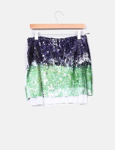 9c73fe52a Falda de lentejuelas azul,verde y blanca