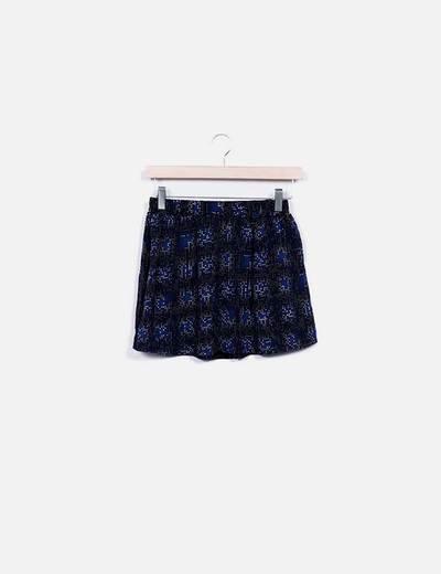 Mini falda azul estampada Venca