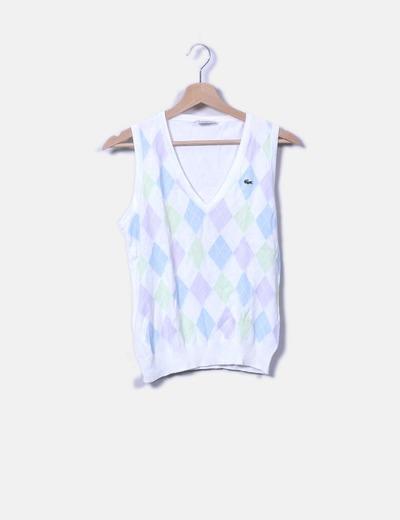 10e982a37f5ad Lacoste Camisola tricotada em malha tricotada com diamantes brancos ...