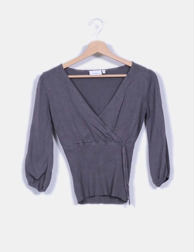 Tricot gris escote en pico mangas abullonadas New Look