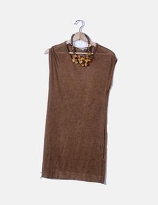 b983b92f4 Vestido fluido marrón detalle collar Massimo Dutti