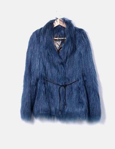Manteau bleu de à fourrure Antón & Moda