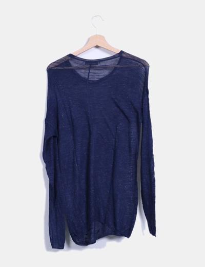 Camiseta semitransparente azul marino glitter