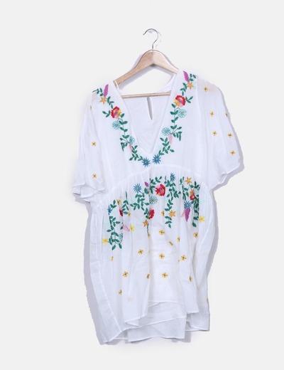 Vestido blanco flores bordado zara