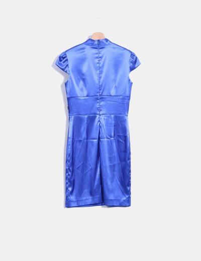 Vestido raso azul klein con strass