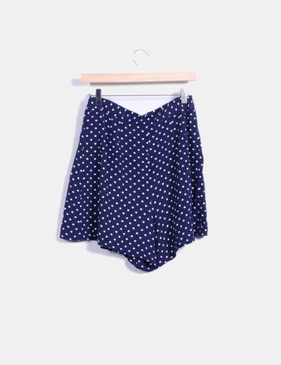 Minifalda azul con topos