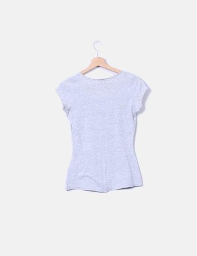 Camiseta gris print con strass