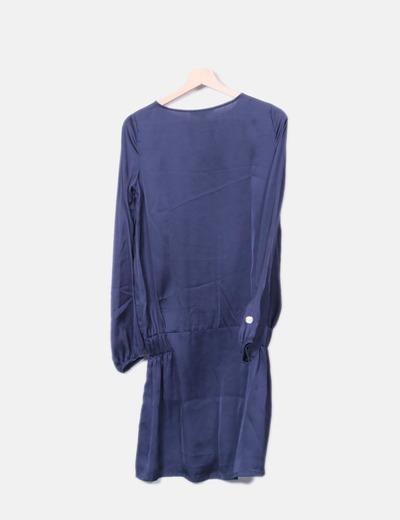 Vestido azul marino satinado