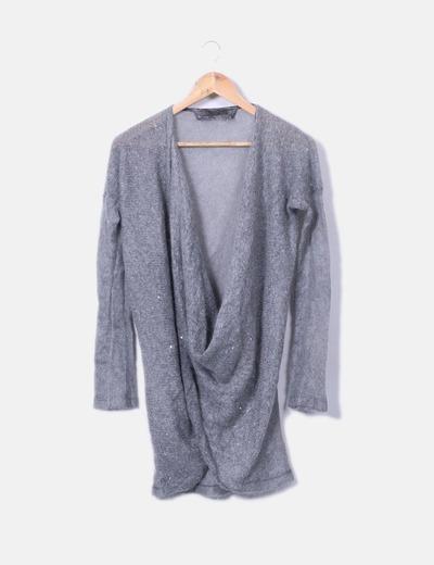 Jersey de punto gris con lentejuelas Kosmika