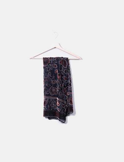 Black scarf embroidered floral NoName