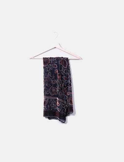 Écharpe noire florale NoName