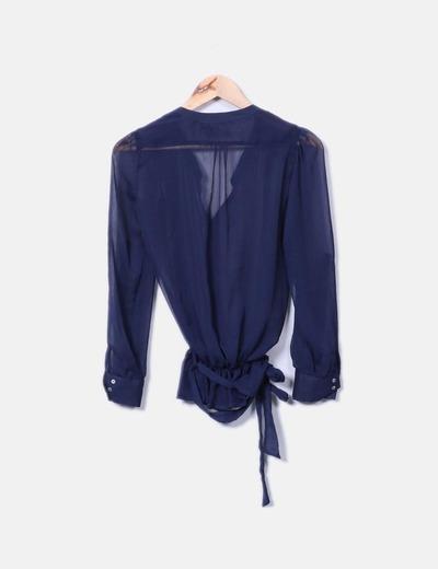 Blusa azul marina semitranparente
