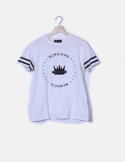 Camiseta blanca print texto