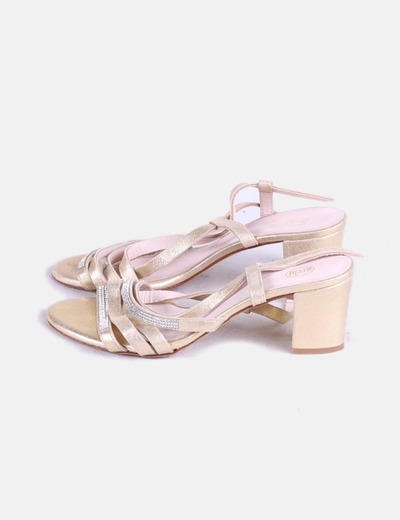 Chaussures dorées avec strass Archi