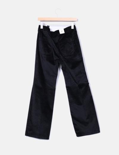 Pantalon negro satinado recto