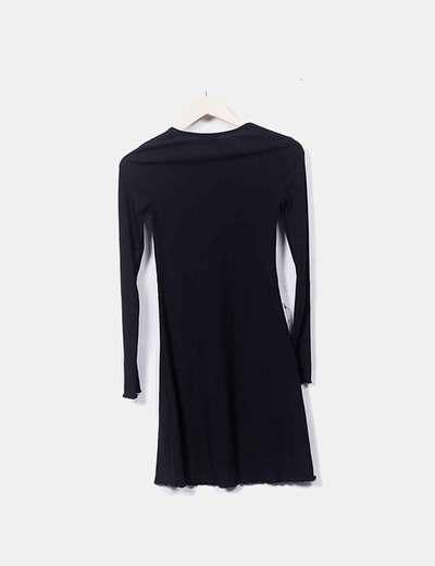 2a1631326 H M Vestido midi negro manga larga (descuento 75%) - Micolet