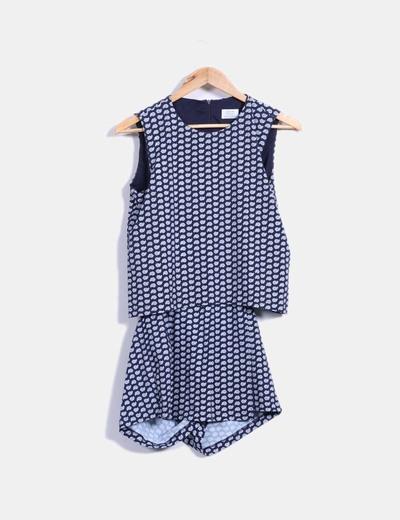 vestido azul marino estampado doble capa Zara