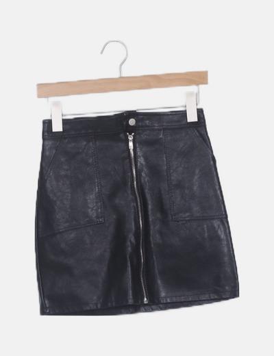 Mini falda polipiel cremallera