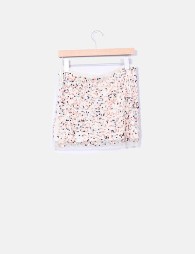 Mini falda paillettes multicolor
