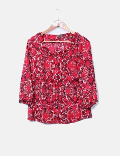 Blusa roja estampada