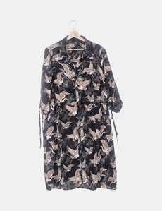 4559d84f0 Vestido camisero fluido print pájaros Kiabi